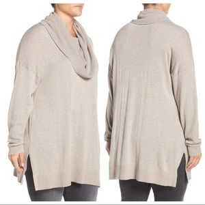 NEW Caslon Cowl Neck Tunic Sweater Heathered Beige